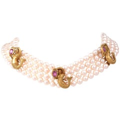Barry Kieselstein Mermaid Gold Pearl Necklace