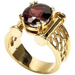Coach House Chic Garnet Gold Lattice Beehive Ring Fine Estate Jewelry