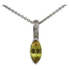 Marquise Yellow Sapphire and Diamond Pendant 18 Karat White Gold