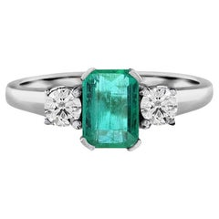Selene Cushion Emerald with Round Diamond Solitaire Ring in 18k White Gold