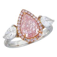 Emilio Jewelry GIA Certified 2.46 Carat Fancy Purplish Pink Diamond Ring