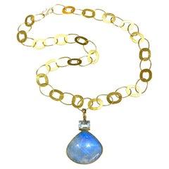 Blue Moonstone and Aquamarine Enhancer Necklace, 18k Yellow Gold