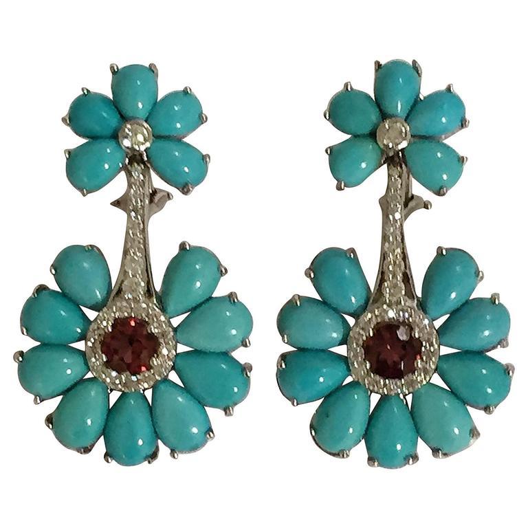 Turquoise Rubelite Diamond Gold Earrings