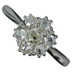 Beautiful Deep Old Mine Cut Diamond 18ct White Gold Cluster Ring