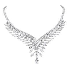 Diamond Platinum Feather Necklace