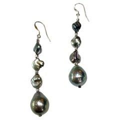 Baroque Tahitian Pearl Drop Earrings