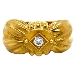 Awesome Vintage 18K Yellow Gold Diamond 'Bow' Ring by SeidenGang 0.15ct