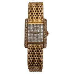 Pre-Owned Louis Cartier Tank Watch Factory Diamonds Grain de Riz 18KY
