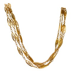 Antique 18 Karat gold French Filigree Watch Chain Necklace