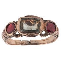 18th Century Garnet Rock Crystal Gold Fede Ring
