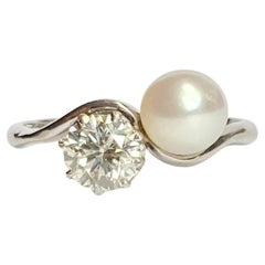 Vintage Pearl and Diamond 18 Carat White Gold Crossover Ring