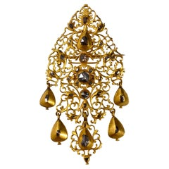 Antique 18th Century Diamond Sequile Pendant/Brooch Yellow Gold Portuguese 1700s