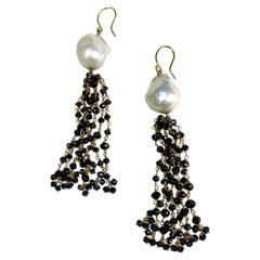 Black Diamond and White Baroque Pearl Tassel Earrings, 18k Gold