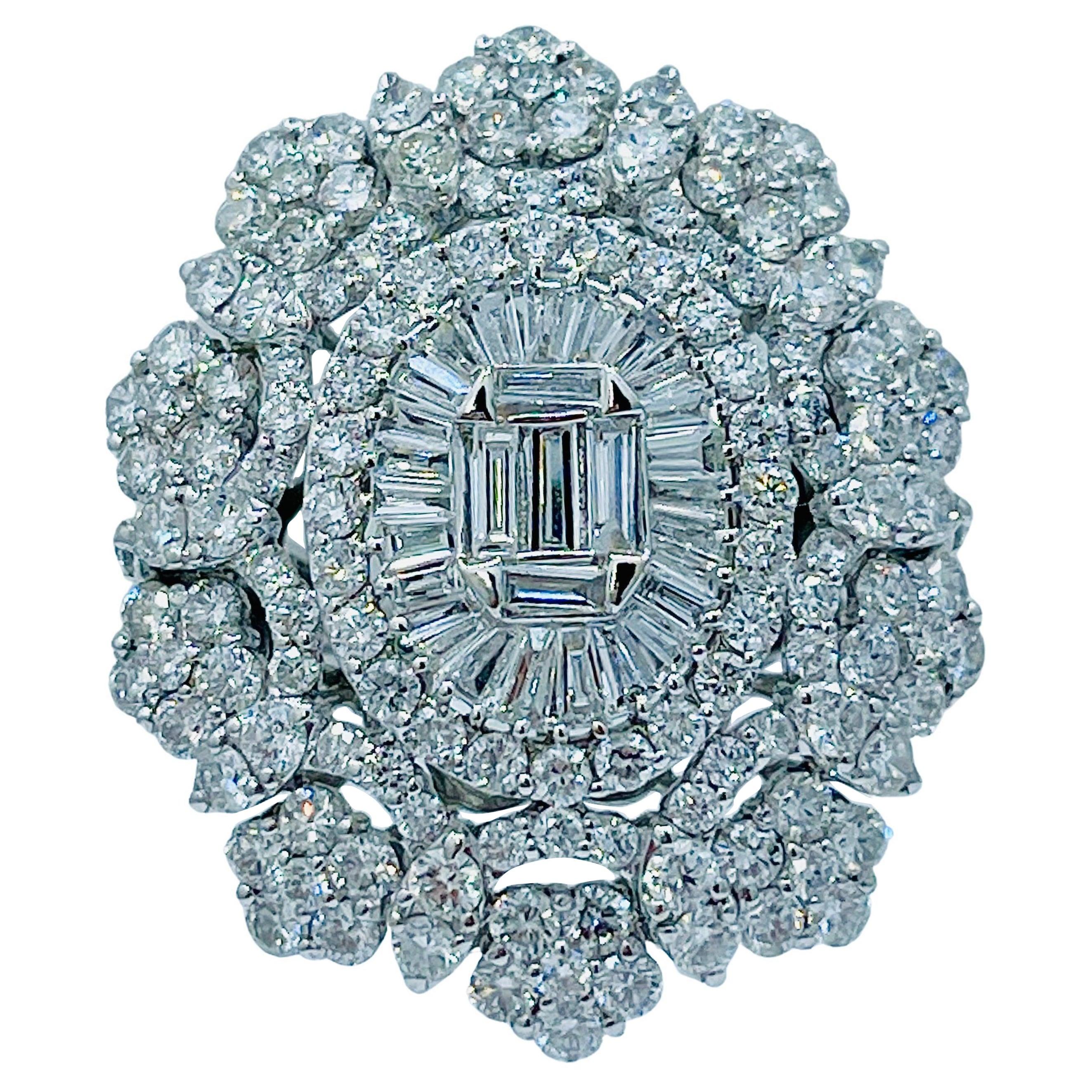 Spectacular 9 Carat Diamond Large Medallion Shaped 18K White Gold Cocktail Ring