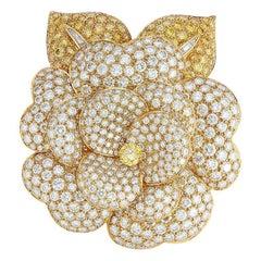 Van Cleef & Arpels Fancy Vivid Yellow Diamond Camellia Brooch