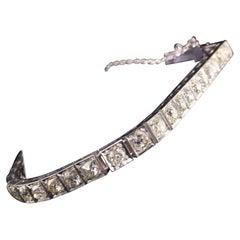Antique Art Deco 14K White Gold Old Mine Cut Diamond Line Bracelet