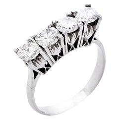 Retro Large Diamond Platinum Wedding Anniversary Band Ring