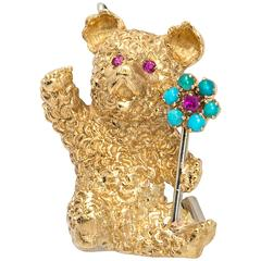 Cartier Gold Bear with Ruby and Turquoise Flower Brooch