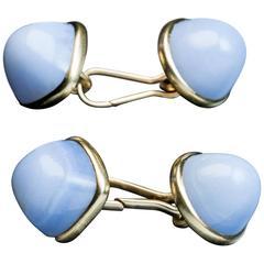 Antique Russian Blue Agate Gold Double Cufflinks