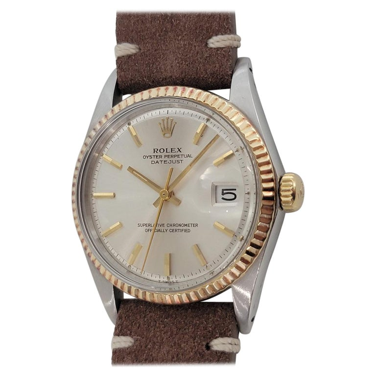 Mens Rolex Oyster Datejust 1601 18k SS Automatic 1970s Vintage Swiss RJC132 For Sale
