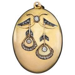 Antique Art Nouveau Diamond Gold Locket Pendant