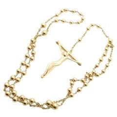 Tiffany & Co Elsa Peretti Rosary Bead Christ Cross Yellow Gold Pendant Necklace