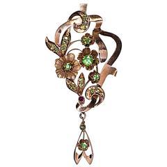Art Nouveau Antique Russian Demantoid Gold Pendant