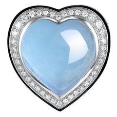 17.05 Carats Heart Cut Aquamarine Diamond Enamel Ring in 18 Karat White Gold