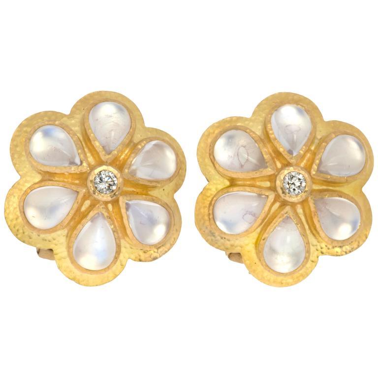 Elizabeth Locke Moonstone Diamond Gold Earrings