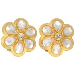 Elizabeth Locke Moonstone Diamond Gold Earrings