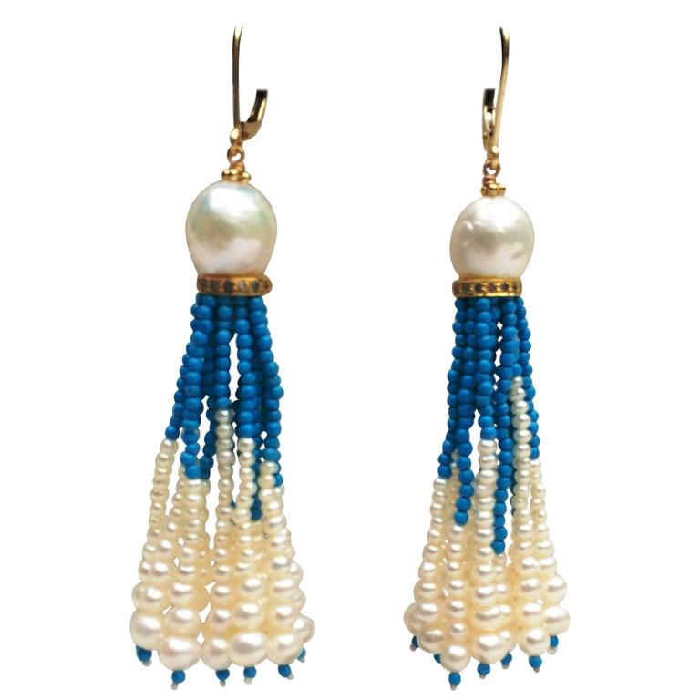 pearl and turquoise tassel earrings for sale at 1stdibs