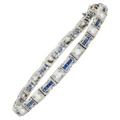 Art Deco Diamond Sapphire Platinum Line Bracelet