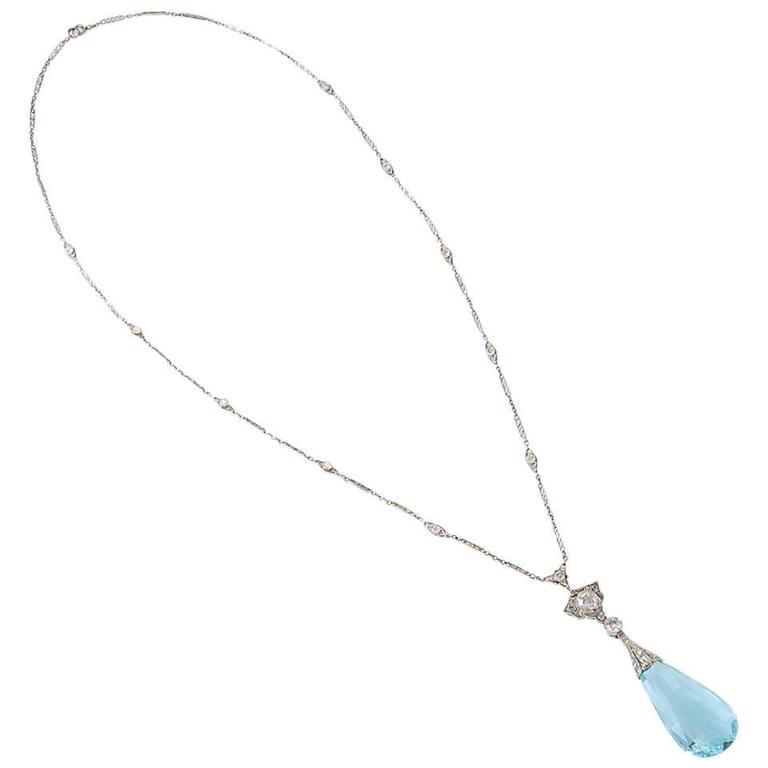 Edwardian Aquamarine Diamond Platinum Necklace 1