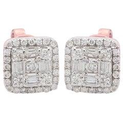Square Diamond 10 Karat Gold Stud Earrings
