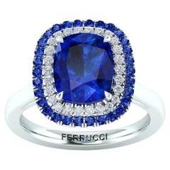 3 Ct Cushio Blue Sapphire with Sapphire and Diamond Halos Platinum Ring