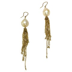 Baroque Freshwater Pearl Earrings with Gold Tassels