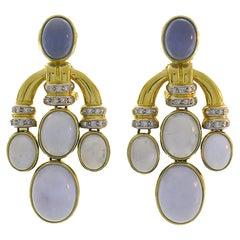 Vintage 18k Yellow Gold Earrings Signed FP Chalcedony Diamond