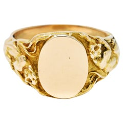 1900 Victorian 14 Karat Gold Men's Jaguar Signet Ring
