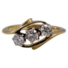 Vintage Diamond Engagement Ring in a Three Stone Twist Design, Hallmarked 1913