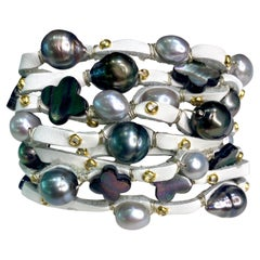 Leather Cuff with Tahitian Pearls and Mother of Pearl Clovers