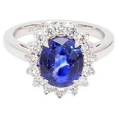 Platinum 3.07 AGL Sapphire Diamond Halo Princess Diana Ring