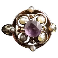 Antique Amethyst and Seed Pearl Ring, 18 Karat Yellow Gold