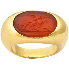Center Carnelian Intaglio Gold Ring