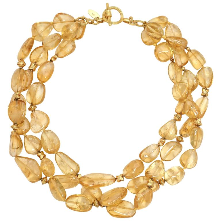 Pat Saling Triple Strand Citrine Gold Bead Necklace