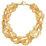 Pat Saling Triple Strand Citrine Gold Bead Necklace