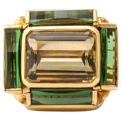 Tony Duquette Tourmaline Citrine Gold Ring