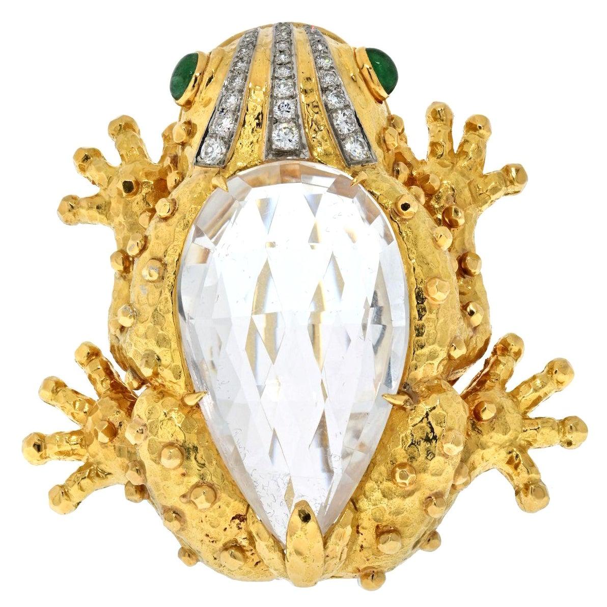 David Webb Platinum & 18K Yellow Gold Rock Crystal Diamond Frog Brooch