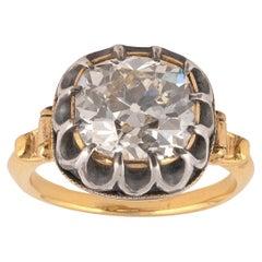 Antique Diamond Single Stone Ring Cushion Shaped Diamond 4.5cts Estimated I SI1