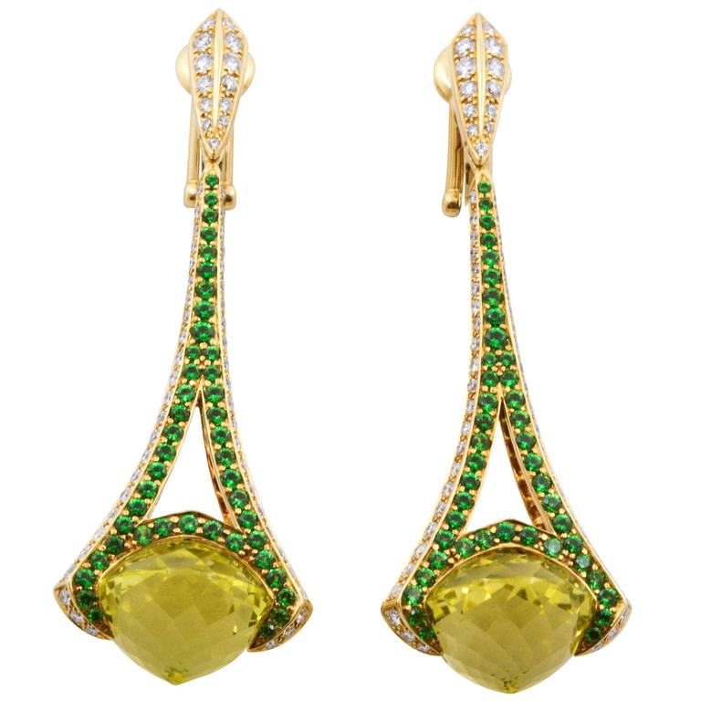 Rodney Rayner Tsavorite 28.24 ct  Lime Quartz 1.58 ct Diamond Gold Earrings