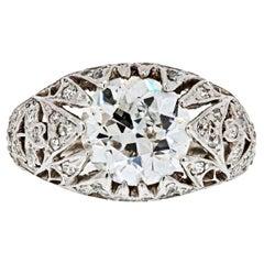 3 Carat Old European Cut Diamond Engagement Ring